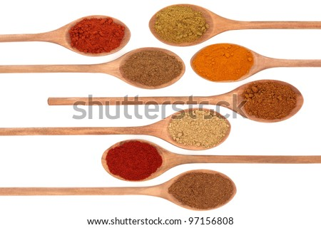 Ground spice of ginger, allspice, cayenne pepper, hot and mild curry powder, mixed spice, turmeric and paprika in eight wooden spoons isolated over white background.