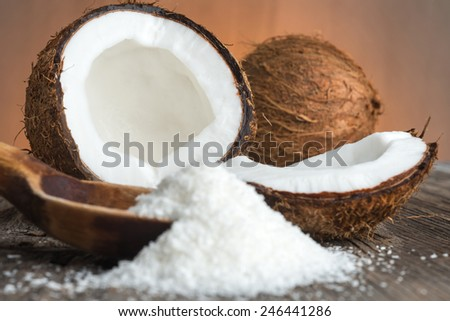 Grounded coconut flakes - stock photo