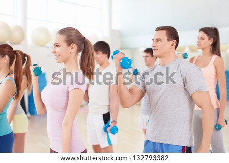 Group activity in the gym - stock photo
