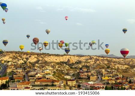 group balloon flying over Cappadocia. Goreme, Turkey.  - stock photo