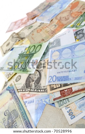 group banknotes of different countries around the world - stock photo