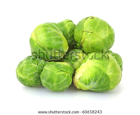 Group Brussels Sprouts - stock photo