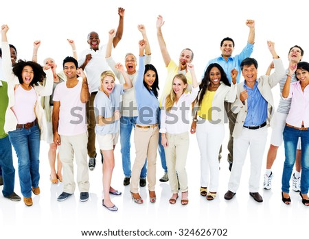 Group Celebration Community Cheering Crowd Concept - stock photo