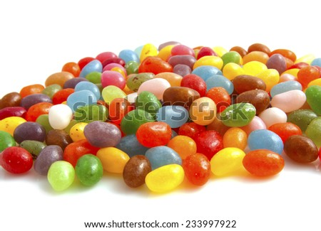 Group colorful jellybeans for background use