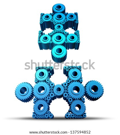 Group connections with two connected networks of gears and cogs shaped as jigsaw puzzle pieces that are attaching together as a working business team for success on a white background. - stock photo