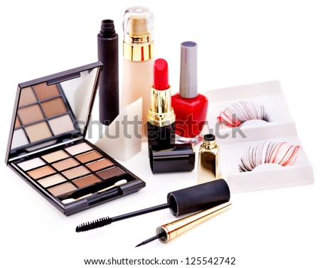 Group decorative cosmetics for makeup. Still life.
