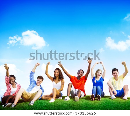 Group Friends Outdoors Celebration Winning Concept - stock photo