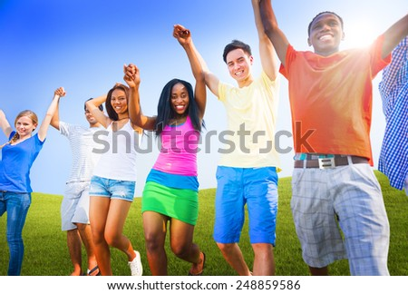 Group Friends Outdoors Celebration Winning Victory Fun Concept - stock photo