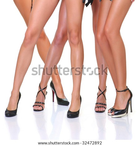 Group from beautiful young women poses in front of the chamber in full growth, isolated on a white background, please see some of my other parts of a body images