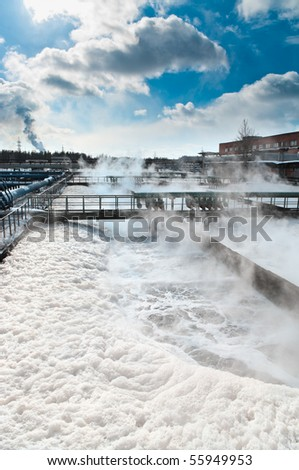 Group from the big sedimentation drainages. Water recycling, settling, purification in the tank by biological organisms on the water station. - stock photo