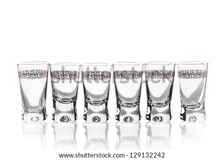 Group glass of vodka isolated on a white background. Path