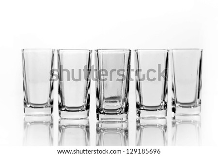 Group glass of vodka isolated on a white background. Path - stock photo