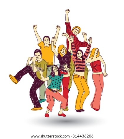 Group happy young people color isolate on white. Big group of active happy people isolated on white illustration.  - stock photo