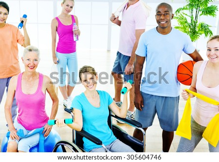Group  Healthy People Fitness Exercise Unity Concept - stock photo