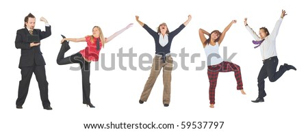 Group Jump Frenzy!!! - stock photo