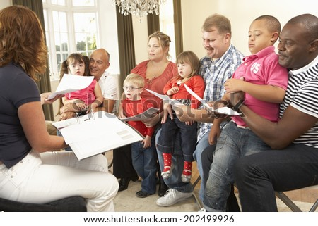 Group meeting for Downs Syndrome families - stock photo