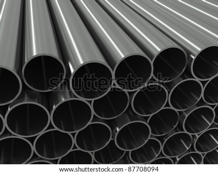 Group metal pipe on a white background - stock photo