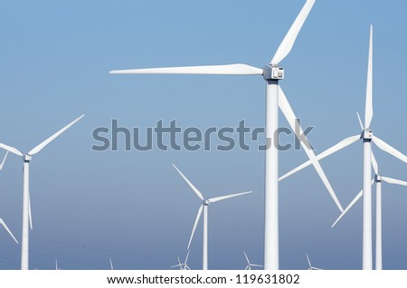 group modern windmills for renewable electric energy production, La Muela, Saragossa province, Aragon, Spain - stock photo