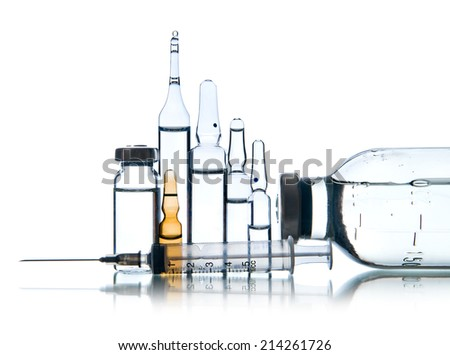 group object of  liquid medicinal agent in  limpid glassware, on white background; isolated - stock photo