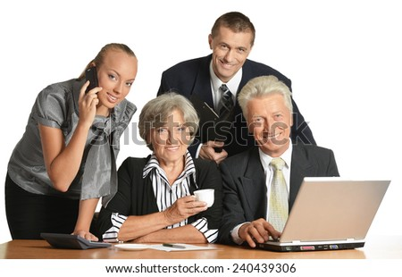 Group of a businesspeople isolated on white - stock photo