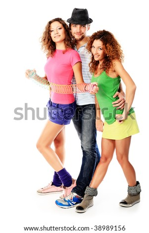 Group of a cheerful young people. Fashion, holidays. - stock photo