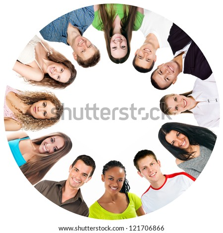 group of a happy people isolated on white background - stock photo