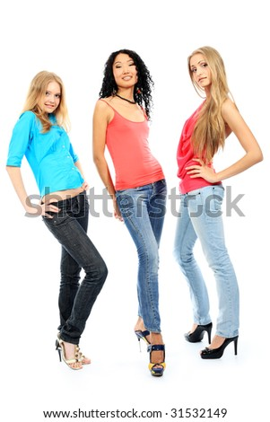 Group of a modern young women. Fashion, education, holidays.