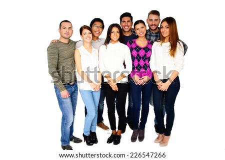 Group of a smiling friends standing together isolated on a white - stock photo