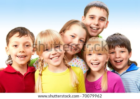 Group of adorable boys and girls together - stock photo