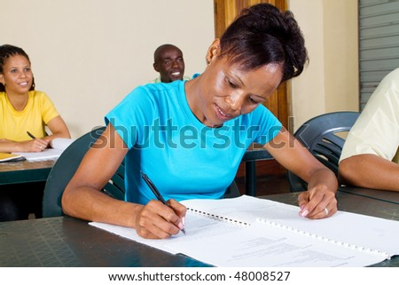 group of african american adult students in classroom - stock photo