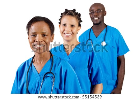 group of african american medical professionals isolated on white - stock photo