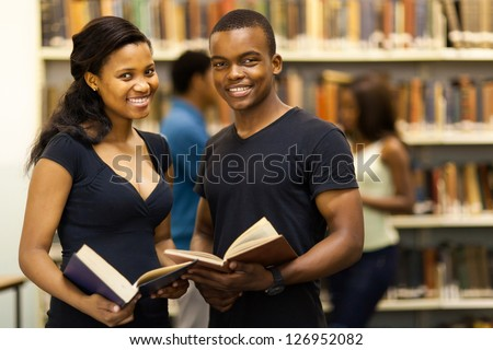 group of african american university students in library - stock photo