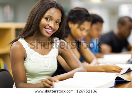 group of african college students studying together - stock photo