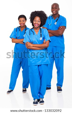 group of african hospital workers portrait on white - stock photo