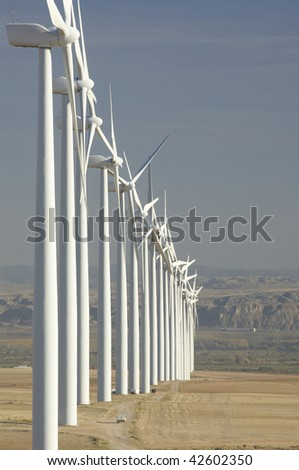 group of aligned windmills in Spain