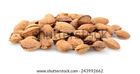 Group of almonds with shell isolated on white background