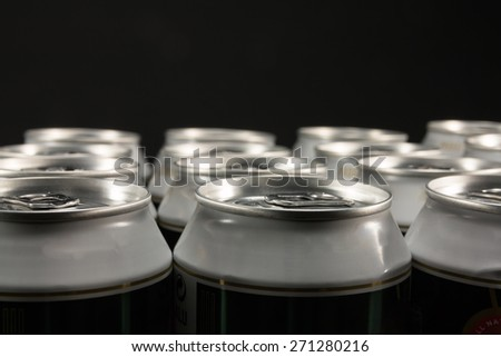 group of aluminum beverage cans - stock photo