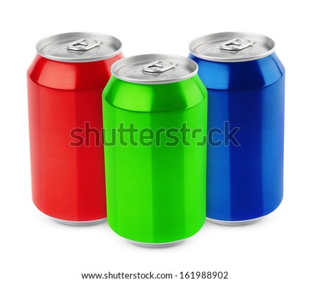 Group of aluminum 330ml cans isolated on white background - stock photo