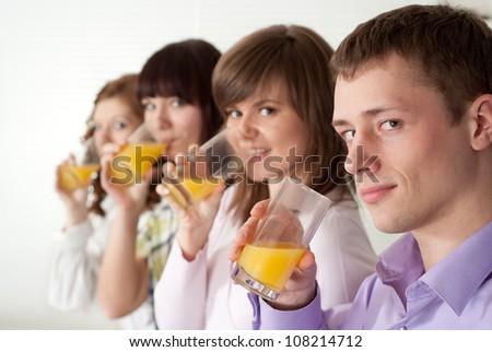 Group of amusing young people had a great time with each other - stock photo