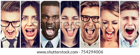 Group of angry people screaming