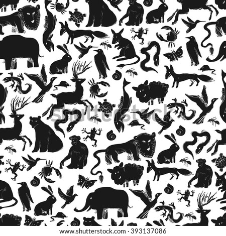 Group of Animals Silhouettes. Zoo Seamless Pattern. Raster version.