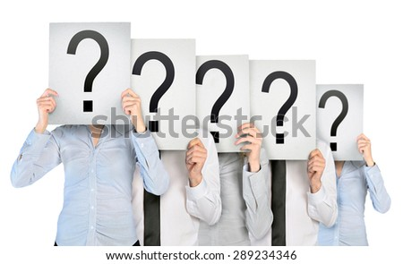 Group of anonym people hiding face - stock photo