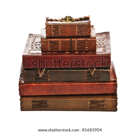 Group of antique books.  Isolated on white.