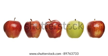 Group of apples isolated on white background - stock photo