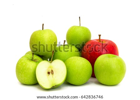 Group of apples with red apple and green apple slice isolated on white background , apples and apple cut