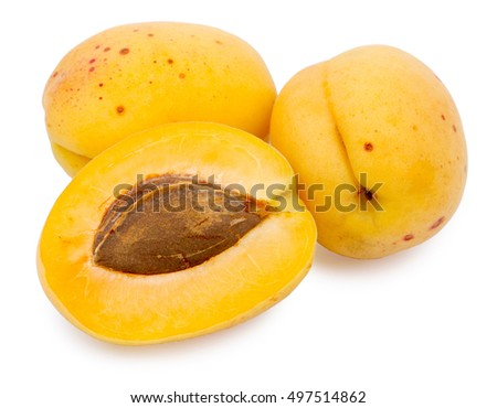 Group of apricots is isolated on a white background