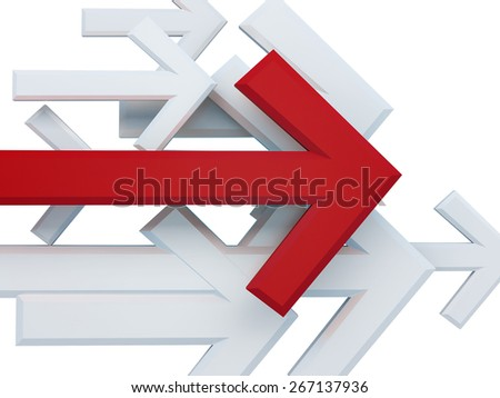 Group of arrows on a white background, 3d rendering