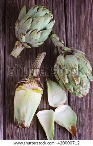 Group of artichokes - stock photo