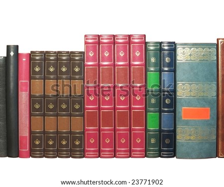 Group of artificial leather bound books, isolated on white background - stock photo