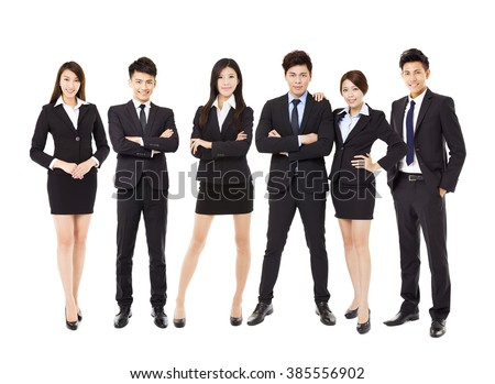 Group of asian business people isolated on white - stock photo